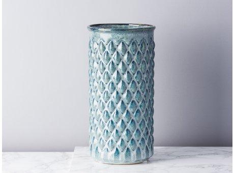 Bloomingville Vase Blau Keramik schlank Zylinder 30 cm hoch Blumenvase mit Karo Design erhaben