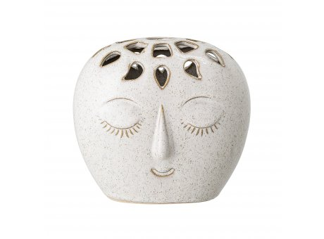 Bloomingville Vase FACE Creme Weiß Oval mit Gesicht 14,5 cm Keramik Blumenvase Bloomingville Produkt Nummer  82047421