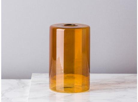 Bloomingville Vase Glas Orange Braun Blumenvase Zylinder 13 cm hoch Durchmesser 8 cm rund Design Modern