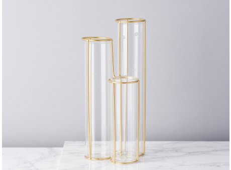 Bloomingville Vase Glas Röhren mit Ständer Gold 3er Set Zylinder 25 cm hoch schlicht modern