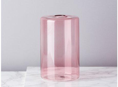 Bloomingville Vase Glas Rosa Blumenvase Zylinder 16 cm hoch Durchmesser 10 cm rund Design Modern