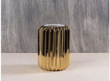Bloomingville Vase gold rund mit Rillen fluted porcelain aus Porzellan 14 cm hoch