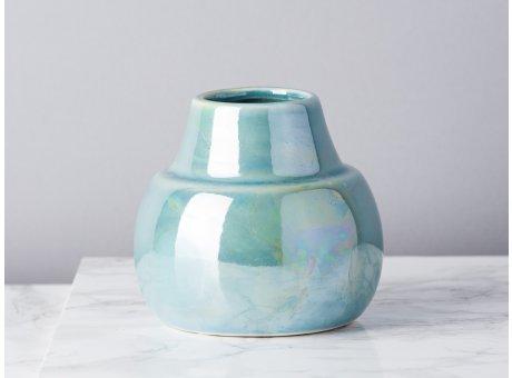 Bloomingville Vase Paula blau grün metallic Perlmutt Blumenvase im Art Deco Design Modern Dekoration