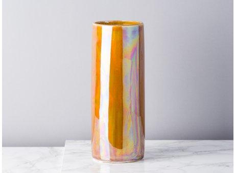 Bloomingville Vase Paula braun orange metallic große Blumenvase Zylinder 25 cm hoch