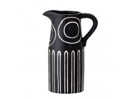 Bloomingville Vase TROY Schwarz mit Muster Keramik Bloomingville Blumenvase Nr 82050090
