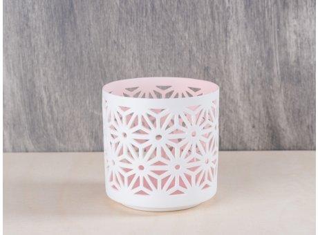 Bloomingville Votive Floral weiß rosa aus Porzellan mit Blumen Muster