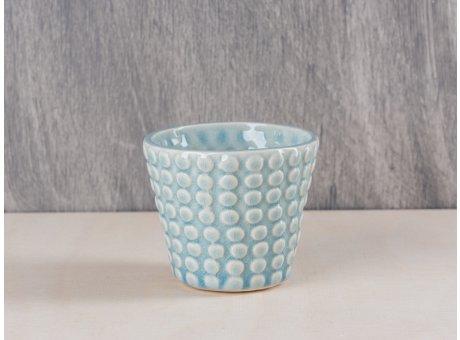 Bloomingville Votive Punkte blau Keramik Windlicht Teelichthalter