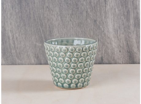 Bloomingville Votive Punkte grün grau Keramik Windlicht Teelichthalter
