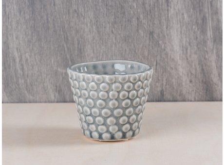 Bloomingville Votive Punkte hellgrau Keramik Windlicht Teelichthalter