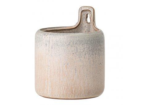 Bloomingville Wand Blumentopf Hänger Rund Creme Grau 12 cm Keramik Übertopf hängend Nr 82049306