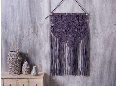 Bloomingville Wandteppich Purple Deko Objekt Wand Haäger in lila grau aus Baumwolle
