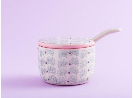 Bloomingville Zuckerdose MAYA Keramik Marmeladentopf Dose mit Deckel und Löffel türkis
