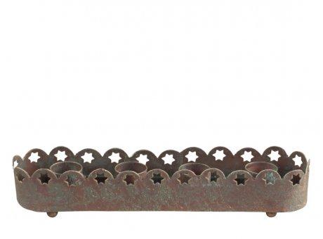 Chic Antique Adventskerzenhalter mit Spitzen Kante 4x20 cm Metall Kerzenständer für 4 Kerzen Chic Antique Weihnachtsdeko Nr 52065-13