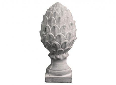 Chic Antique Deko Objekt Pinien Zapfen auf Fuss Grau 20 cm hoch Zement Nr 65173-15