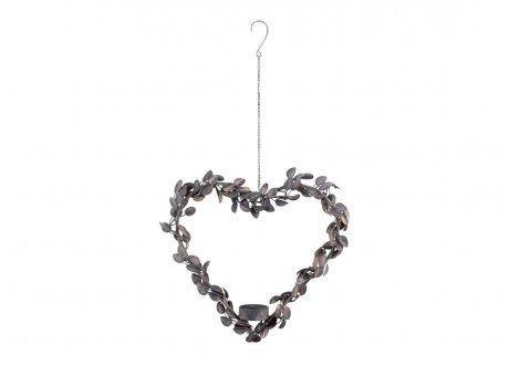 Chic Antique Herz Kranz mit Laub Blätter 27 cm Metall Kerzenhalter für 1 Teelicht Chic Antique Deko Nr 52060-00