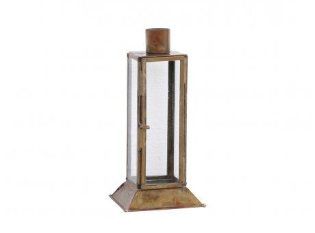 Chic Antique Kerzenhalter Gold Antik mit Deko Fenster und Tür 16 cm hoch Metall Glas für 1 Kerze Chic Antique Kerzenständer Nr 71662-13