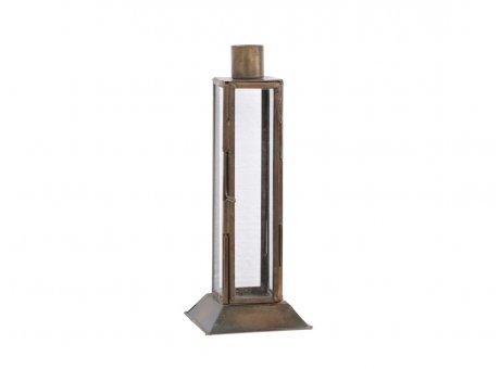 Chic Antique Kerzenhalter Gold Antik mit Deko Fenster und Tür 19 cm hoch Metall Glas für 1 Kerze Chic Antique Kerzenständer Nr 71663-13