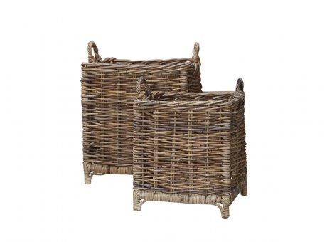 Chic Antique Körbe mit Füssen und Griffen 2er Set Rattan 37x41 und 46x52 cm Korb Set Nr 15177-30