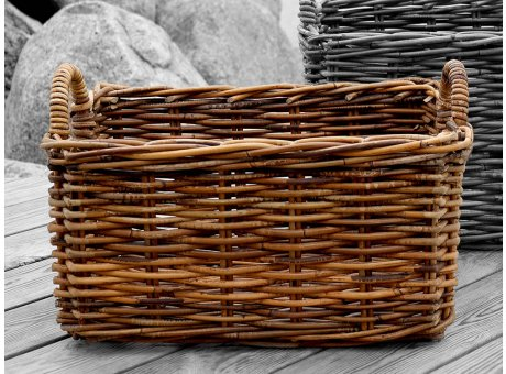 Chic Antique Korb mit Griffen Rechteckig aus Rattan 31x47 cm Wäschekorb oder Zeitungskorb Nr 15202-00-47