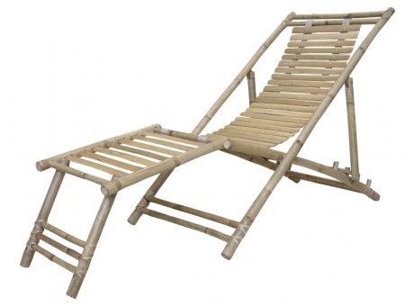 Chic Antique Lyon Liegestuhl Bambus Mit Fußstütze Gartenstuhl Model Nr 40191-00