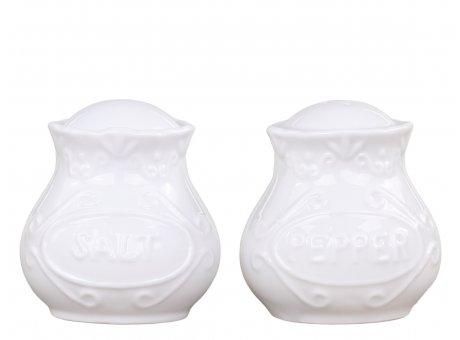 Chic Antique Salz & Pfeffer Set Provence Porzellan Weiss Streuer 6 cm Geschirr Nr 63093-01