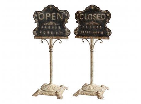Chic Antique Schild Open Closed auf Fuss Metall Gold Antik 112 cm Metallschild Nr 31856-19