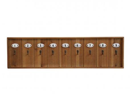 Chic Antique Schlüsselbrett aus Holz mit 9 Keramik Haken mit Zahlen Hakenleiste Nr 41518-00