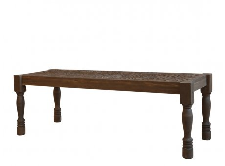 Chic Antique Sitzbank mit Schnitzerein Holz Bank Braun Chic Antique Möbel Nr 40291-00