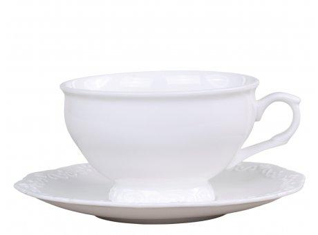 Chic Antique Teetasse Provence mit Untertasse Porzellan Weiss Tasse 350 ml Geschirr Nr 63140-01