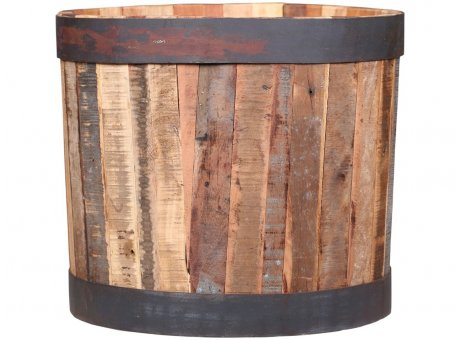 Chic Antique Weinfass GRIMAUD aus altem Holz mit Eisenring 35x40 cm Chic Antique Pflanztopf Nr 41488-00
