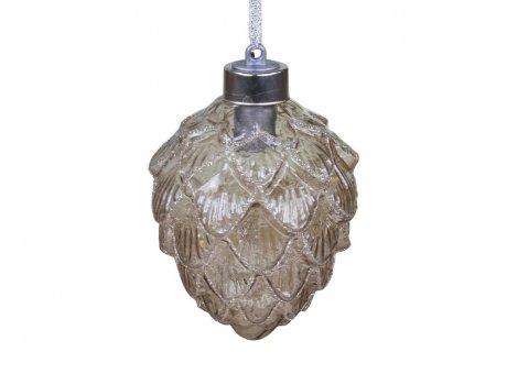 Chic Antique Zapfen mit Glitzer LED Licht Tannenbaumschmuck 8x10 cm Chic Antique Weihnachtsdeko Nr 51884-20