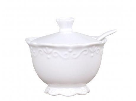 Chic Antique Zuckerdose Provence Porzellan Weiss Zuckertopf 190 ml mit Deckel Geschirr Nr 63100-01