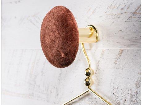 Cozy Living Helene Samt Kleiderhaken Garderobenknopf large groß 10cm Mahogany braun gold rund