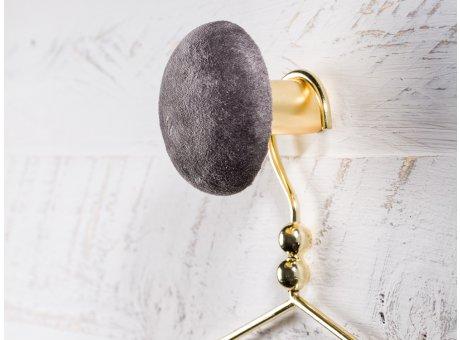 Cozy Living Helene Samt Kleiderhaken Garderobenknopf medium mittel 8cm Cole dunkelgrau gold rund