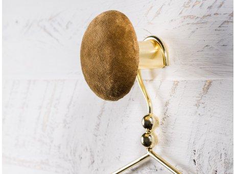 Cozy Living Helene Samt Kleiderhaken Garderobenknopf medium mittel 8cm Muskat braun gold rund