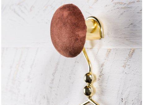 Cozy Living Helene Samt Kleiderhaken Garderobenknopf small klein 6cm Mahogany braun gold rund