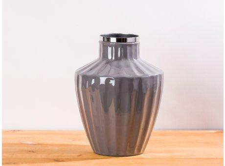 Cozy Living Vase Josefine Dunkelgrau Grau silber Blumenvase 23 cm hoch aus Metall Deko Modern