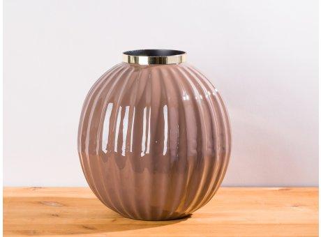 Cozy Living Vase Josefine Rouge grau braun gold Blumenvase 27 cm groß aus Metall Deko Modern