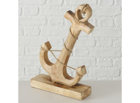 Deko Aufsteller ANKER Holz 30 cm groß Stockanker mit Tau Maritime Deko