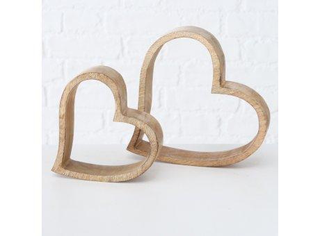 Deko Herz aus Holz 2er Set 14 und 19 cm gross Hochzeitsdeko für hölzerne Hochzeit