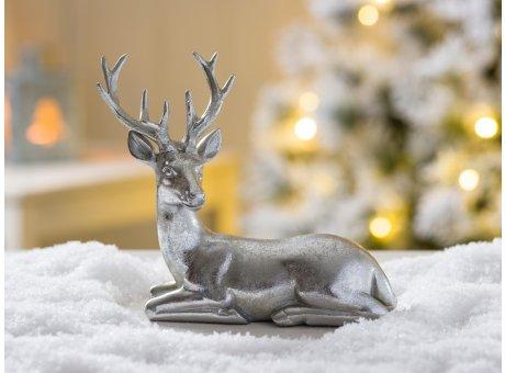 Deko Hirsch Darwin silber liegend Weihnachtsdeko