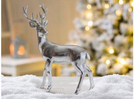 Deko Hirsch Darwin stehend Weihnachtsdeko silber