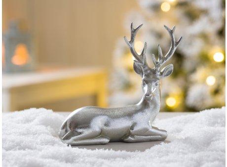 Deko Hirsch Heinrich silber liegend Weihnachtsdeko