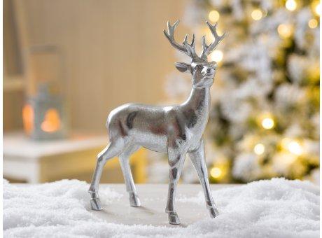 Deko Hirsch Heinrich stehend Weihnachtsdeko silber