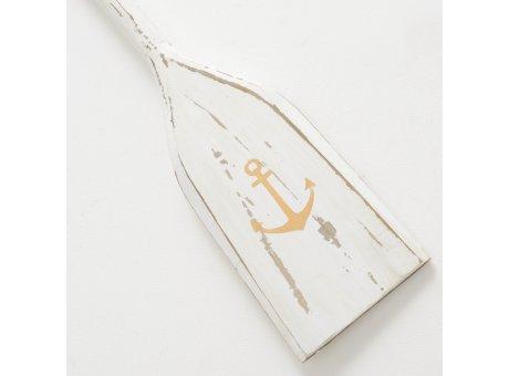 Deko Paddel weiß mit Anker in Gold aus Holz 115 cm groß