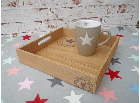 Deko Tablett Christmas Holz mit Stern 25x25 cm