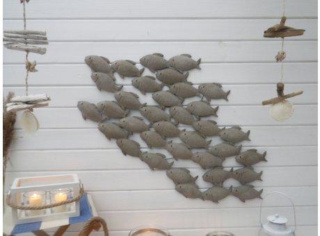 Deko Wand Objekt Fischschwarm