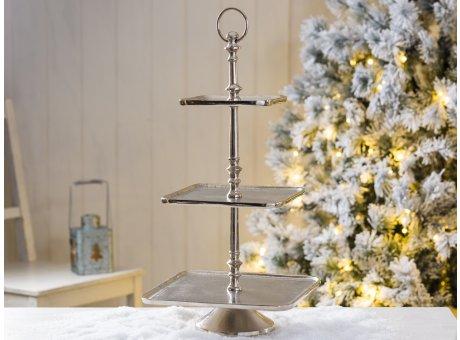 Etagere Helena 3 stöckig Teller Form quadratisch aus Metall mit rundem Trage Ring und Windlicht Laterne Tannenbaum