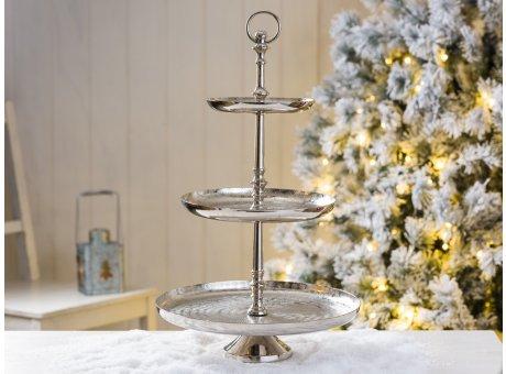 Etagere silber Doria 3 Etagen aus Metall rund 48 cm Schöne Deko in silber zu Weihnachten oder bei Hochzeiten