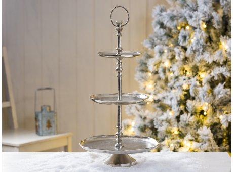 Etagere silber Gala 3 Etagen aus Metall rund 48 cm Schöne Deko in silber zu Weihnachten oder bei Hochzeiten